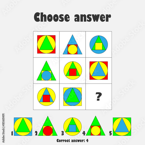 Choose Correct Answer Iq Test With Colorful Geometric Shapes For