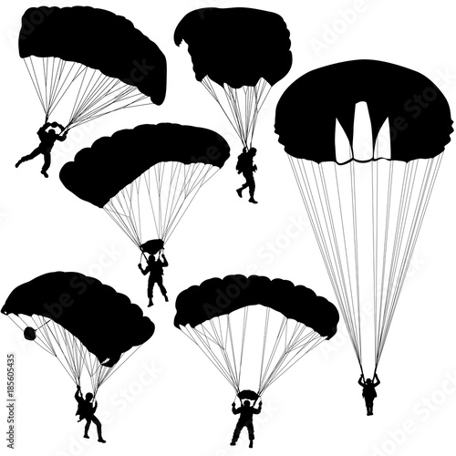 Obraz na plátně Set skydiver, silhouettes parachuting vector illustration