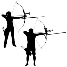 Silhouette Set Attractive Male And Female Archer Bending A Bow And Aiming In The Target