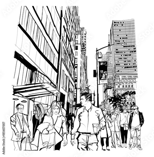 Autocollant pour porte Art Studio Rush hour on 5th avenue in Manhattan