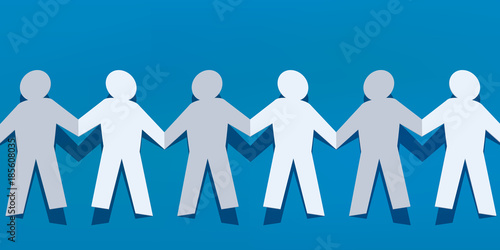 Photo chaine - papier - concept - ensemble - groupe - union - équipe - travail d'équip