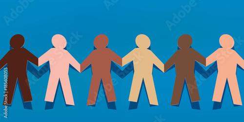 chaine - papier - concept - différent - diversité - entente - solidarité - coule Wallpaper Mural