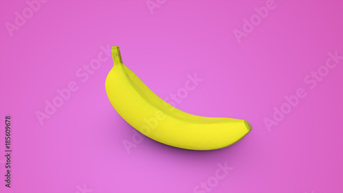 Yellow banana on a pink background 3d illustration Canvas Print