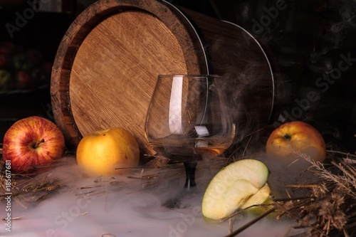 Still life with alcohol and apples Canvas Print