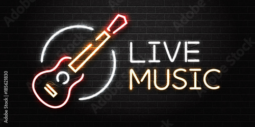 Fotografie, Obraz  Vector realistic isolated neon sign of guitar for decoration and covering on the wall background