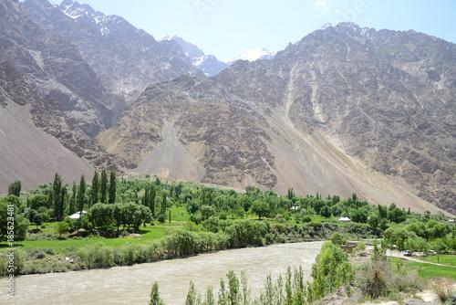 Foto op Canvas Pistache Beautiful Bartang Valley near Bisav village with the mighty Bartang river, Pamir Mountain Range, Tajikistan