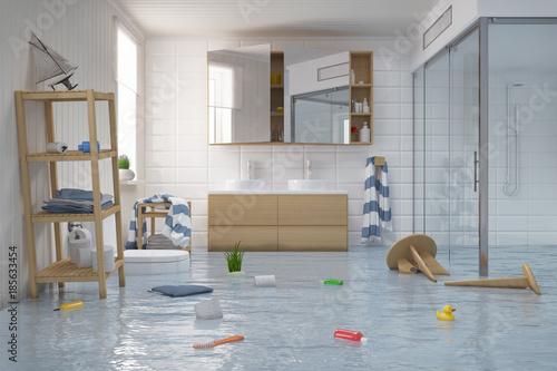 Überschwemmtes Skandinavisches, nordisches Badezimmer - Bad - Dusche ...