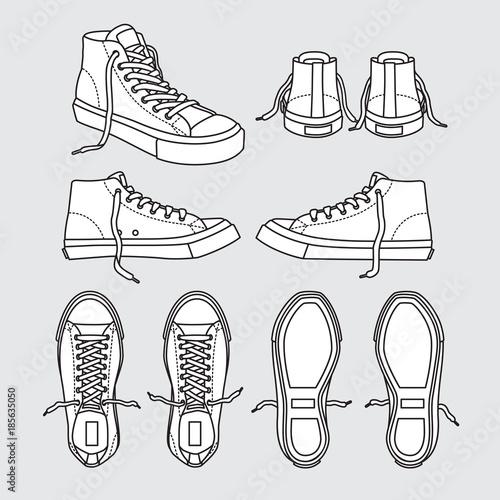 sneaker shoe canvas sport wear foot wear training running shoe illustration vect Fototapeta