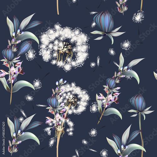 botaniczny-wektor-wzor-z-mniszek-lekarski-kwiaty-i-lawendy