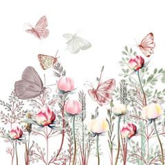 Fototapeta Optyczne powiększenie Flower vector illustration with plants. Vintage provance style