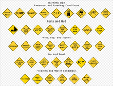 Road Sign. Warning. Pavement And Roadway Conditions. Rocks And Mud. Wind, Fog And Storms. Ice And Frost. Flooding And Water Conditions. Vector Illustration On Transparent Background