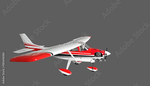 Radio Controlled Airplane on Gray Background, Clipping Path Canvas Print