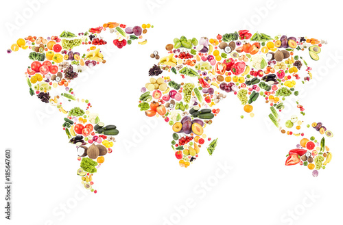 Obraz World map from different fresh fruits and vegetables, isolated - fototapety do salonu
