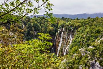 Fototapeta Wodospad Croatia Plitvice lake, natural travel background, national park