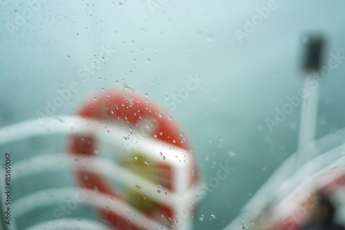 water drops on glass - view city