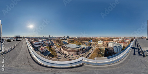 Air roof 360 panorama in center of city with beautiful architecture. Full 360 by 180 degree seamless spherical panorama in equirectangular projection. Skybox for VR