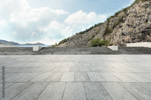 Empty Square Floor And Mountain Nature Landscape