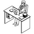 Businessman on office desk icon vector illustration graphic design