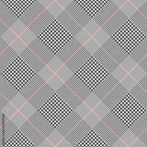 Photo  Prince of Wales check pattern in classic black and white with red overcheck