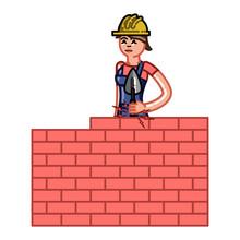 Builder Woman Build A Brick Wall