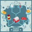 Farm color isometric concept icons
