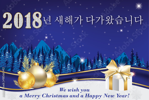 Merry christmas and happy new year 2018 written in korean and merry christmas and happy new year 2018 written in korean and english greeting card for m4hsunfo
