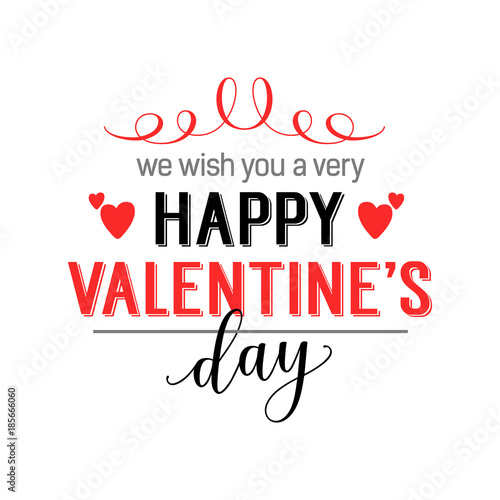 We Wish You Happy Valentines Day Lettering Buy This Stock Vector