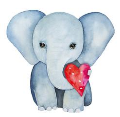 Portret znak dziecko słoń, trzymając czerwone różowe serce z pnia. Symbol piękna, władzy, godności, inteligencji, szczęścia i pokoju. Ręcznie malowane rysunek kolor wody, pojedyncze, białe tło.