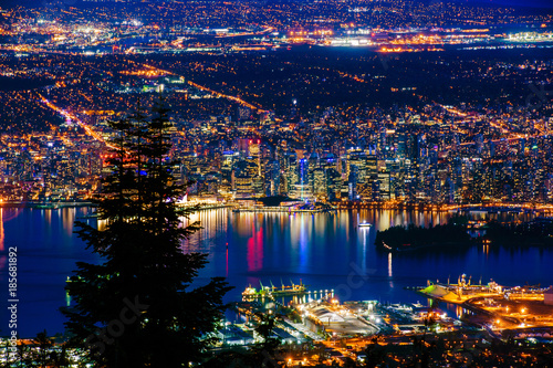 Aerial view of Vancouver city by night.