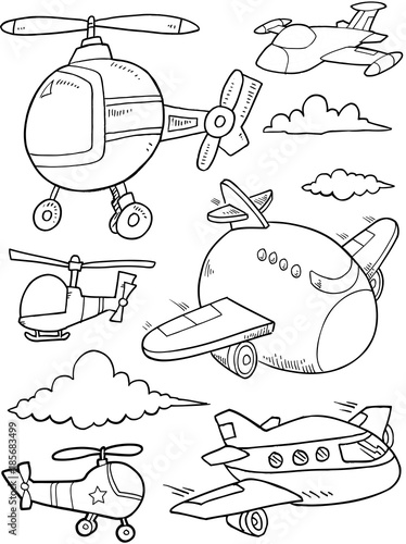 Foto auf AluDibond Cartoon draw Aircraft and Helicopters Vector Illustration Art