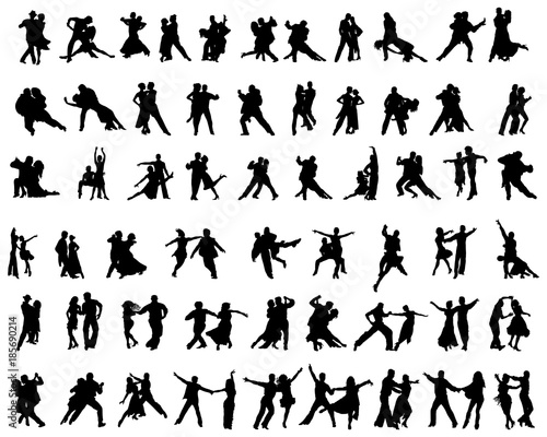 Black silhouettes of tango players on a white background Canvas Print