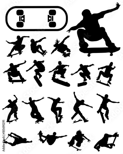 Valokuvatapetti Black silhouettes of skate jumpers on a white background