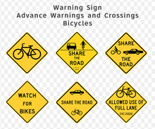 Road Sign. Warning. Advance Warnings And Crossings. Bicycles.  Vector Illustration On Transparent Background