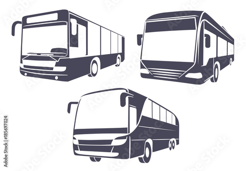 City bus the isolated image on a white background Wallpaper Mural