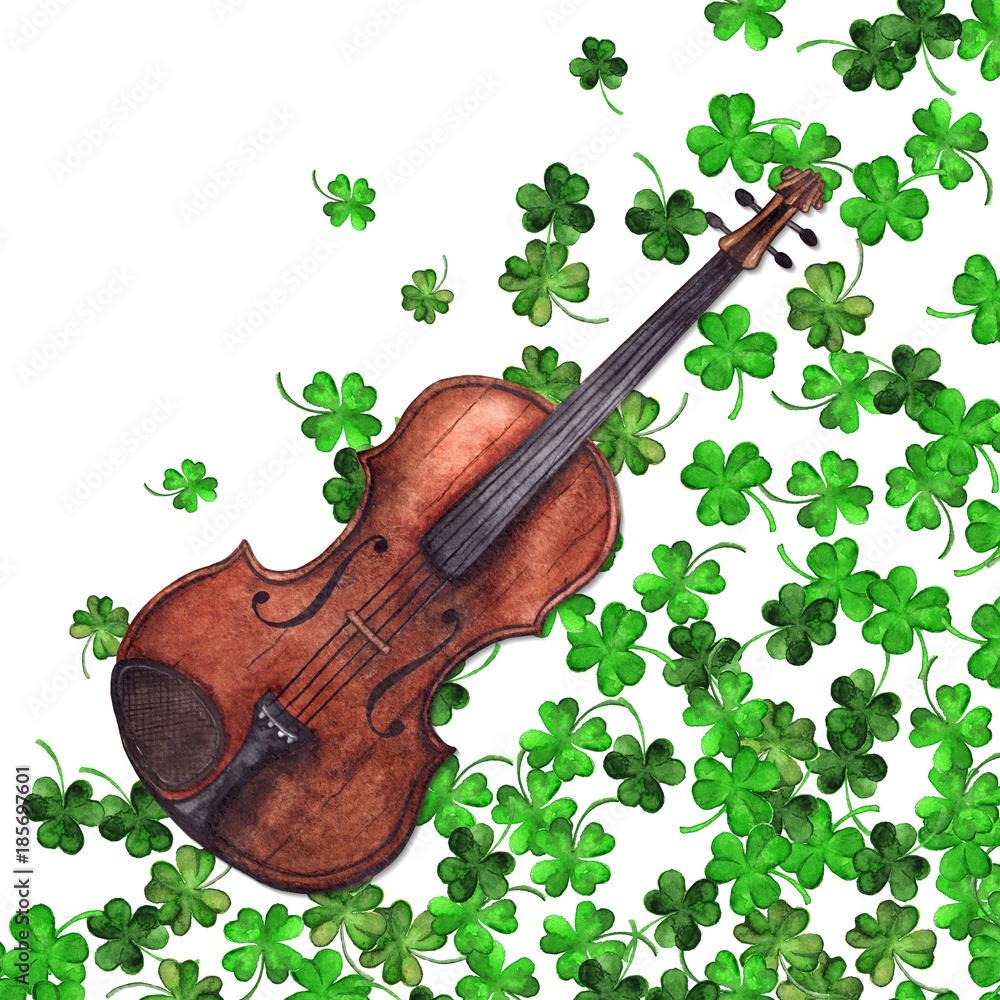 Watercolor wooden vintage violin fiddle musical instrument clover shamrock leaf plant pattern background
