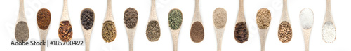 Canvas Prints Spices Spices Set in spoons isolated on white background. Top view.