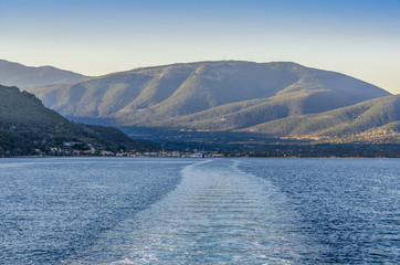 Landscape of the Ionian sea and the mountains of the islands