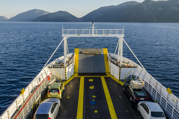 By ferry with the car to Pisaetos Ithaka