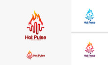 Hot Pulse Logo Designs Concept, Fire Vibe Logo Template