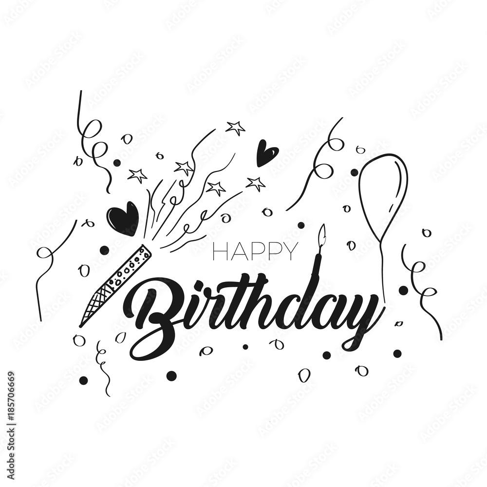 Fotografia Happy Birthday Typography For Greeting Card
