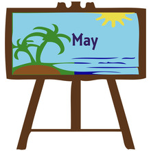 Month Of May With Beach Scene