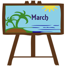 Month Of March With Beach Scene