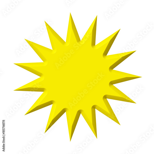 Fototapeta Yellow star shape sign price label isolated on white background. Blank sale tag. 3d  illustration obraz na płótnie