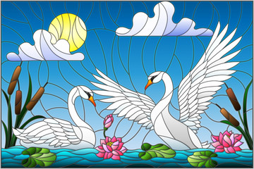 Naklejka Illustration in stained glass style with pair of Swans , Lotus flowers and reeds on a pond in the sun, sky and clouds