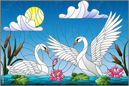 ilustracja-w-stylu-witrazu-z-para-labedzi-kwiaty-lotosu-i-trzciny-na-staw-w
