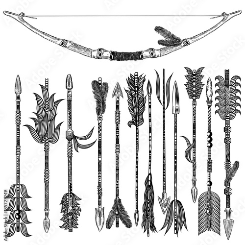 Rustic Arrow Set Ethnic Tribal Theme Of Indian American Arrows And Bow Collection