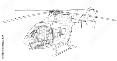 Cuadros en Lienzo Outline drawing of helicopter