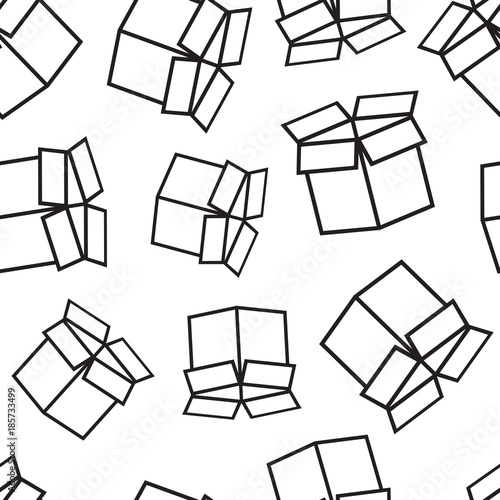 Open Box Shipping Seamless Pattern Background Business Flat Vector