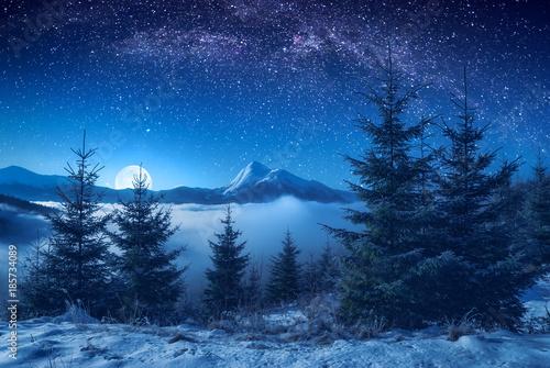 Foto auf Gartenposter Gebirge Beautiful mountain peak on a horizon at night