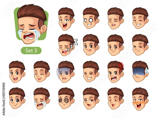 The Third Set Of Male Facial Emotions Cartoon Character Design With